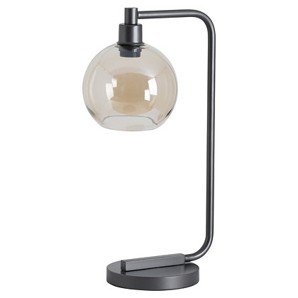 Industrial Metal Desk Lamp With Smoked Glass