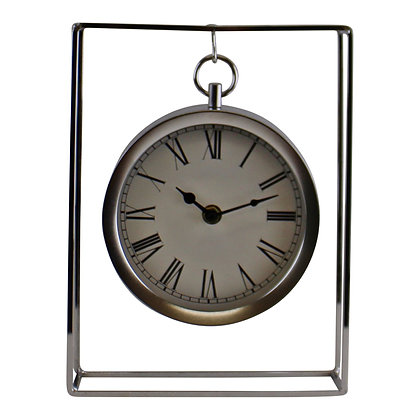 Silver Metal Freestanding Hanging Clock In Frame, 25cm