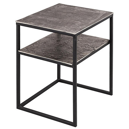 Cast silver Side Table with Shelf
