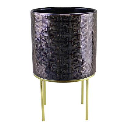 Midnight Blue & Gold Ceramic Planter On Stand, Round Geometric Design