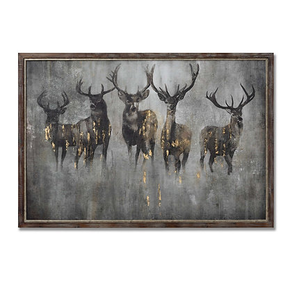 Large Curious Stag Painting on Cement Board with Frame