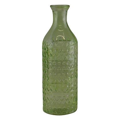 Large Geometric Embossed Glass Bottle Style Vase, Light Green