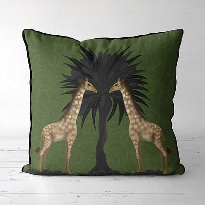 Giraffe Twins, Animalia Tropical Decor Cushion