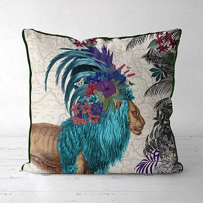 African Blue Lion Tropical Cushion