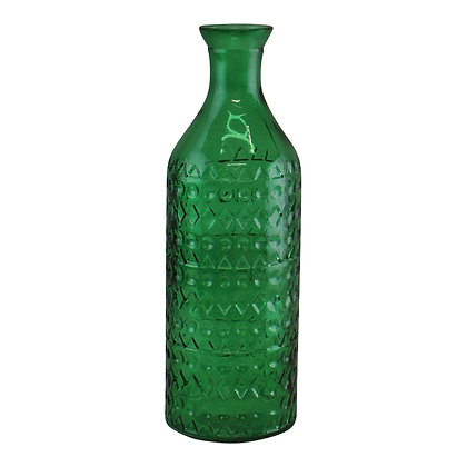 Large Geometric Embossed Glass Bottle Style Vase, Dark Green