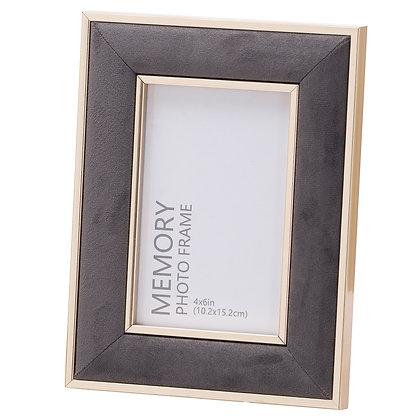 Grey Velvet With Gold 4X6 Frame