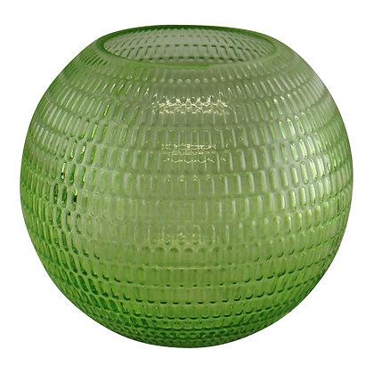Embossed Glass Bowl Vase, Light Green, 15cm
