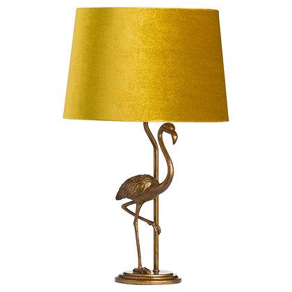 Antique Gold Flamingo Lamp With Mustard Velvet Shade