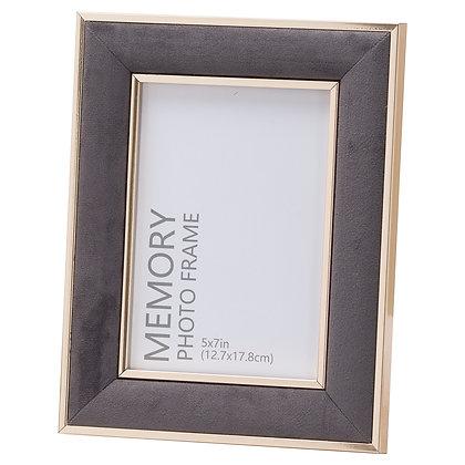 Grey Velvet With Gold 5X7 Frame