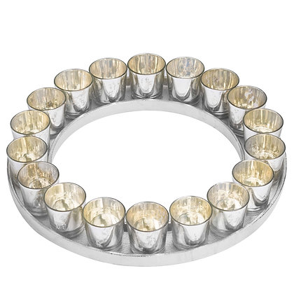 Large Circular Cast Aluminium Tray With Silver Glass Votives
