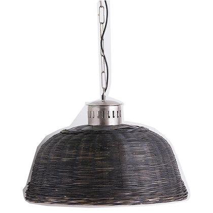 Large Black Orla Wicker Pendant Light