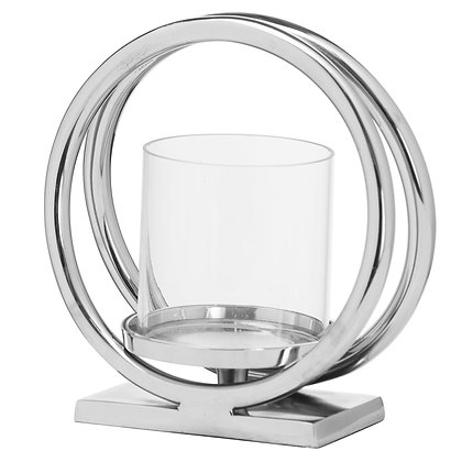 Ohlson Silver Large Twin loop Candle Holder