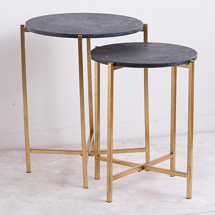Set Of 2 Gold And Black Marble Tables