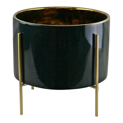 Large Ceramic Gold Lined Planter With Stand, Green