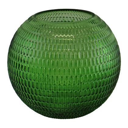 Embossed Glass Bowl Vase, Dark Green, 15cm