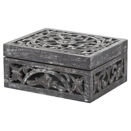 Lustro Carved Antique Metallic Wooden Box