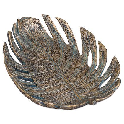 Antique Bronze Cheese Plant Leaf Dish