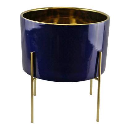 Large Ceramic Gold Lined Planter With Stand, Navy Blue