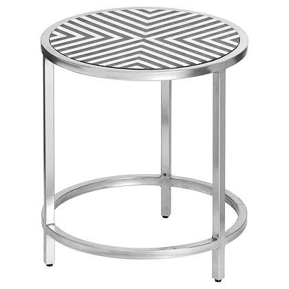 Handmade Bone Inlay Round Side Table