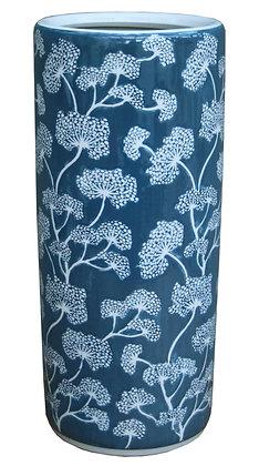 Ceramic Embossed Umbrella Stand, Blue/White Floral Design