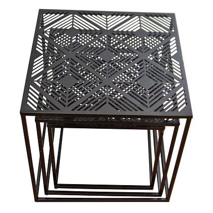 Set Of 3 Black Metal, Geometric Design Side Tables