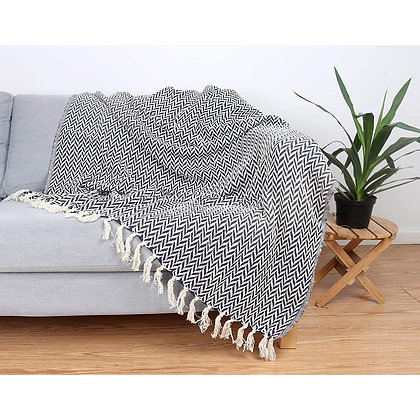 Patterned Cotton Throw Blanket - 50 X 70