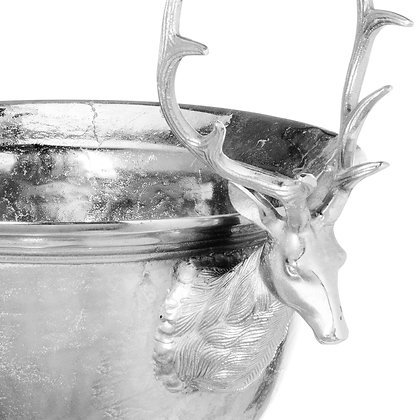 Large Aluminium Stag Champagne Cooler on Stand