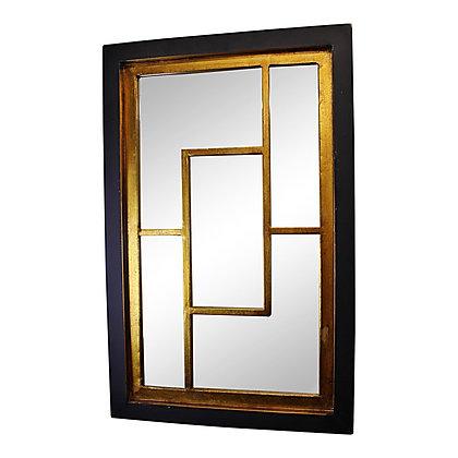 Geometric Black & Gold Wall Hanging Mirror