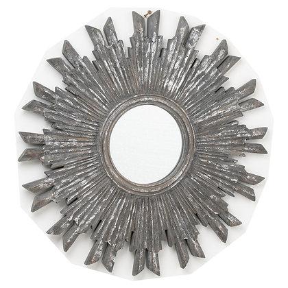 Circular Antique Metallic Burst Mirror