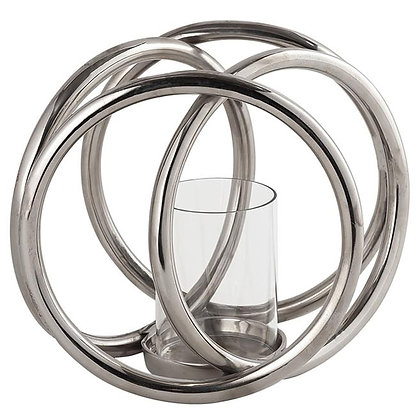 Farrah Cast silver four Ring  Pillar Candle Holder