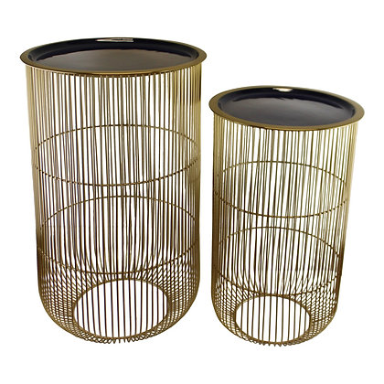 Set of 2 Decorative Side Tables in Gold & Navy Blue