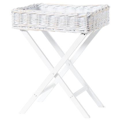 White Wash Wicker Basket Butler Tray