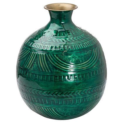 Aztec Collection Brass Embossed Ceramic Dipped Squat Vase