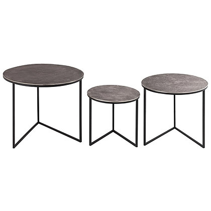 Cast silver Nest of Three Round Tables