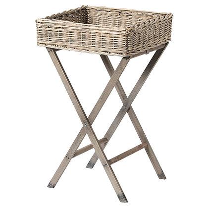 Large Grey Wash Wicker Basket Butler Tray