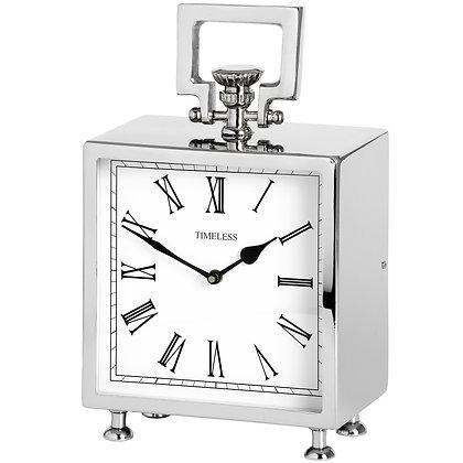 Square Nickel Table Clock