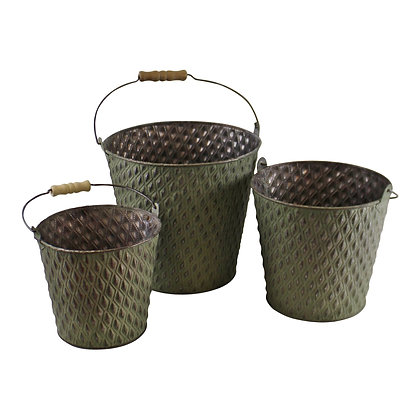 Set Of 3 Bucket Style Zinc Planters In Green