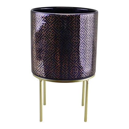 Midnight Blue & Gold Ceramic Planter On Stand, Square Geometric Design
