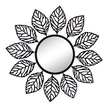 Black Metal Leaf Design Accent Mirror