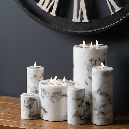 Luxe Collection Natural Glow 3.5x9 Marble Effect LED Candle