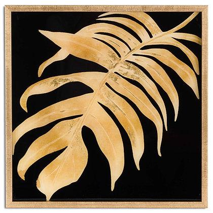 Metallic Leaf Glass Image In Gold Frame