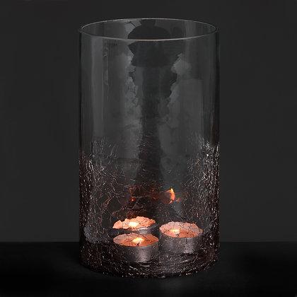 Medium Smoked Crackle Effect Candle Holder