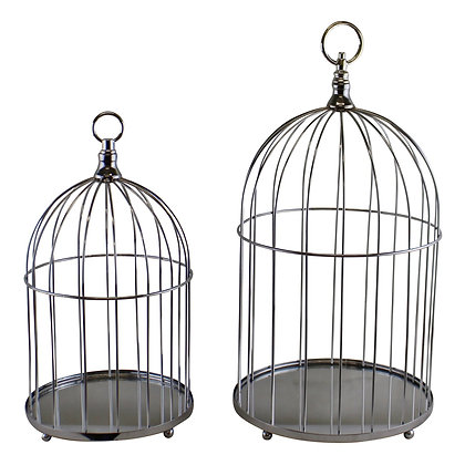 Set of 2 Mirrored Base Decorative Birdcages