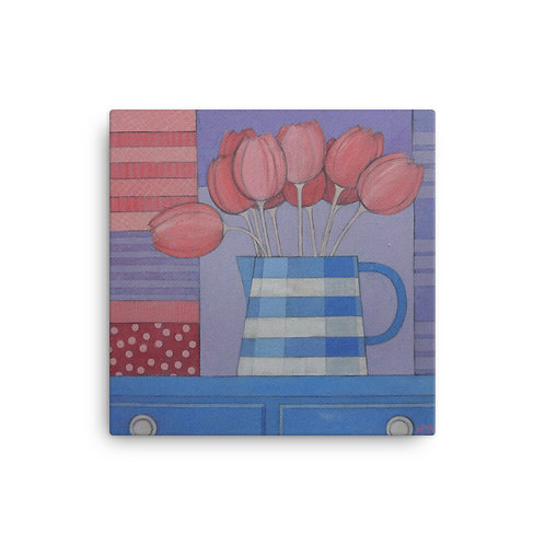 Canvas Print: Pink Tulips in the Milk Jug