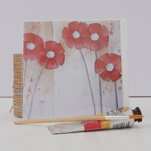 """Art Card of """"Red Daisies"""""""