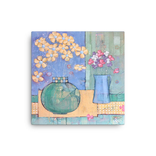 Canvas Print: Sweet Peas and Yellow Pansies