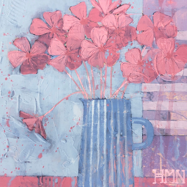 Red peonies in a jug - SOLD