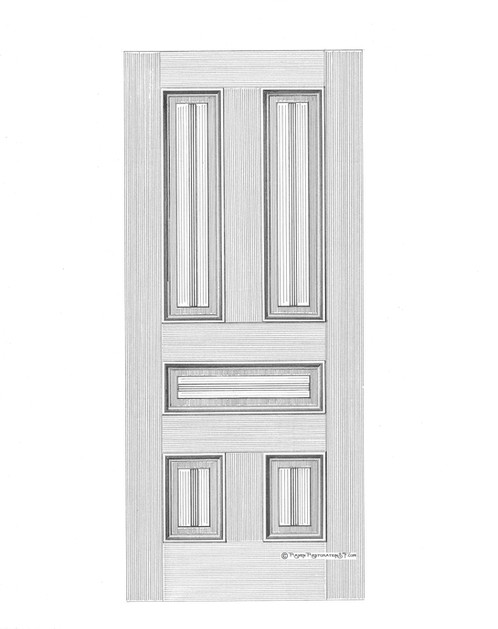 Center bead 5 panel san francisco victorian edwardian front door the milled bead details are significantly heavier than those of interior doors and balances the aesthetics of the heavily raised panels of this door planetlyrics