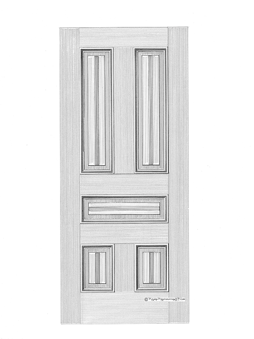 Center-bead 5-Panel San Francisco Victorian Edwardian Front Door