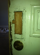 Fill all damaged wood before installing a replacement salvage antique lockset